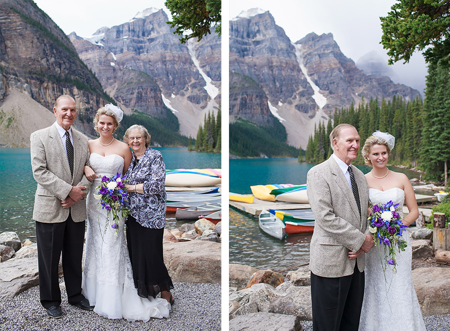 Family wedding photos at Moraine Lake, AB