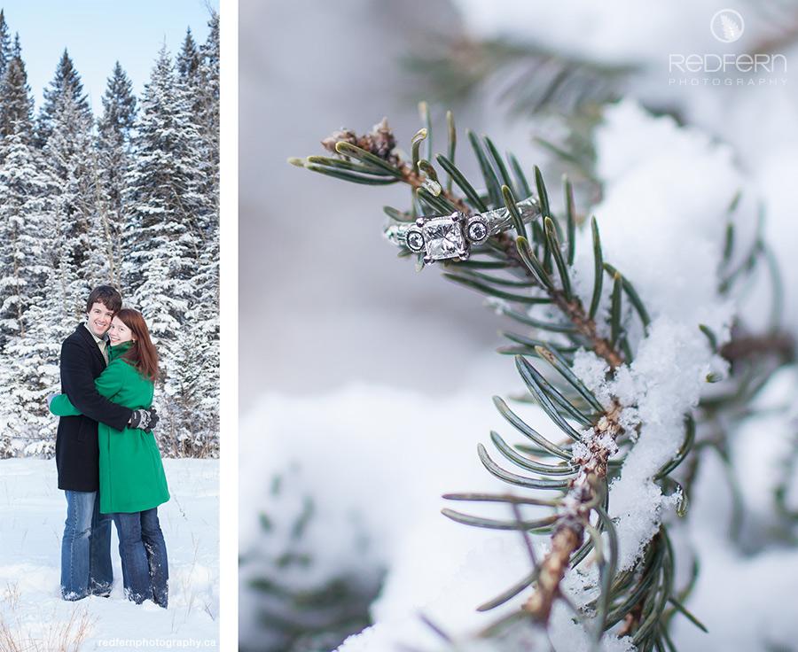 Canmore Engagement Photos in the Snow