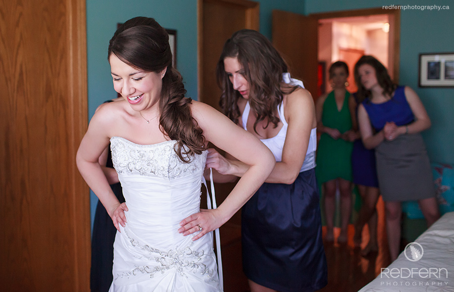 A bride gets ready for her Calgary wedding at home