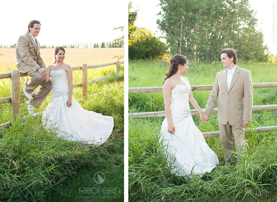 Alberta rural farm wedding couple outside in summer