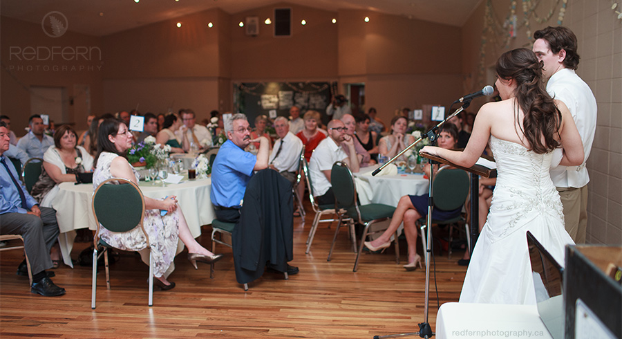 DeWinton Hall wedding speeches by bride and groom
