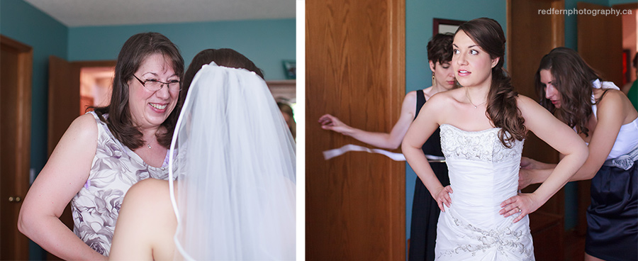 A bride gets into her dress for her Calgary wedding