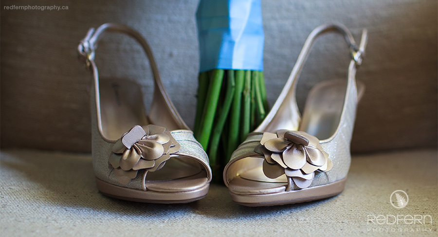 Vintage gold wedding shoes