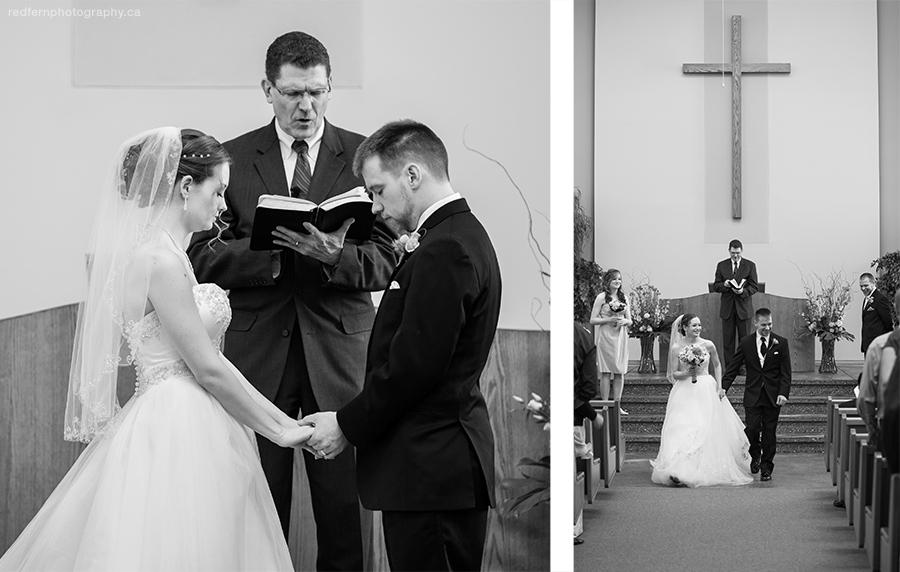 Calgary wedding ceremony black and white