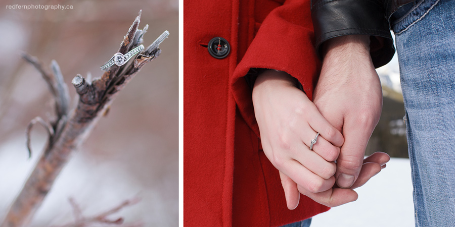 Winter engagement picture holding hands