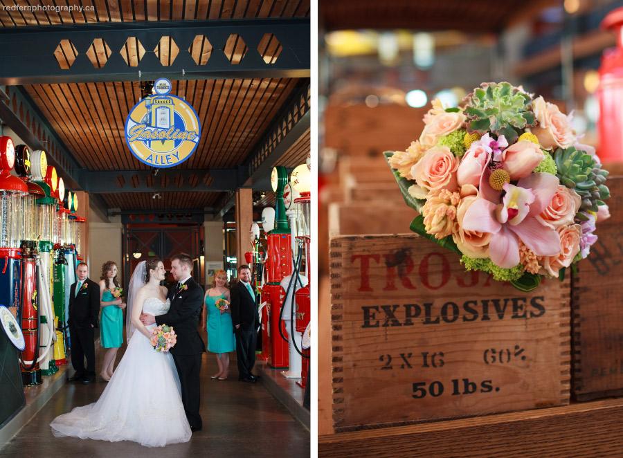 Heritage Park wedding photos inside Gasoline Alley