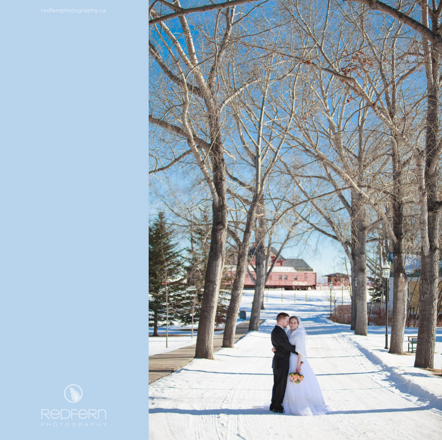 Heritage Park winter wedding picture of a bride and groom between trees