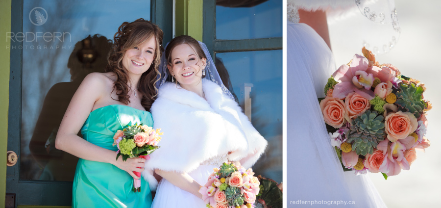 Winter wedding bride and succulent bouquet