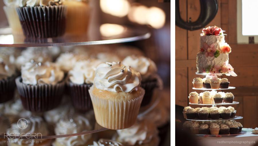 Gunn's Dairy Barn wedding reception cake and cupcakes