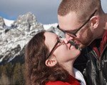 A couple kissing in the Rocky Mountains near Canmore Alberta