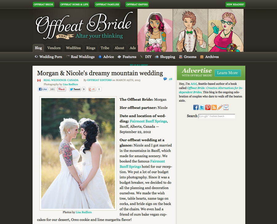Lesbian gay wedding photography in Banff featured on offbeatbride.com