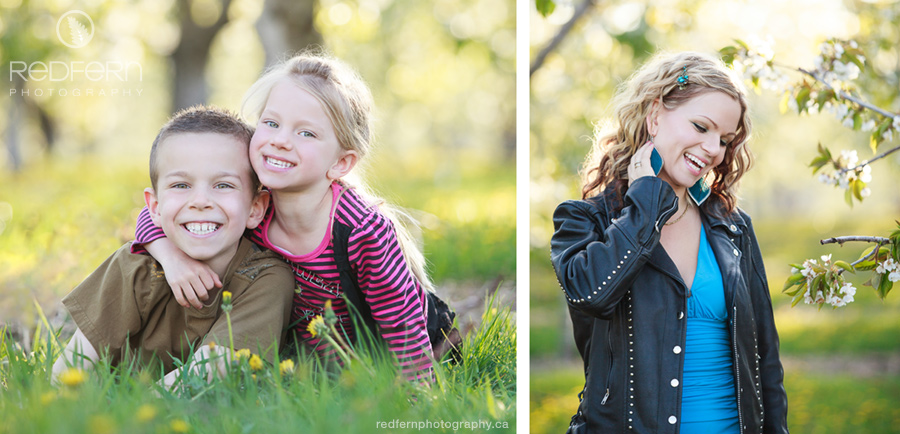 Family photos in the orchard with the fruit trees in Kelowna