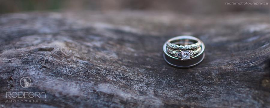 Rustic Wedding Rings on Wood