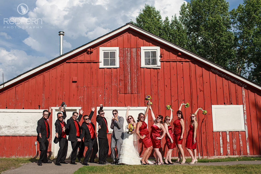 the ranche calgary wedding pictures red barn bridal party