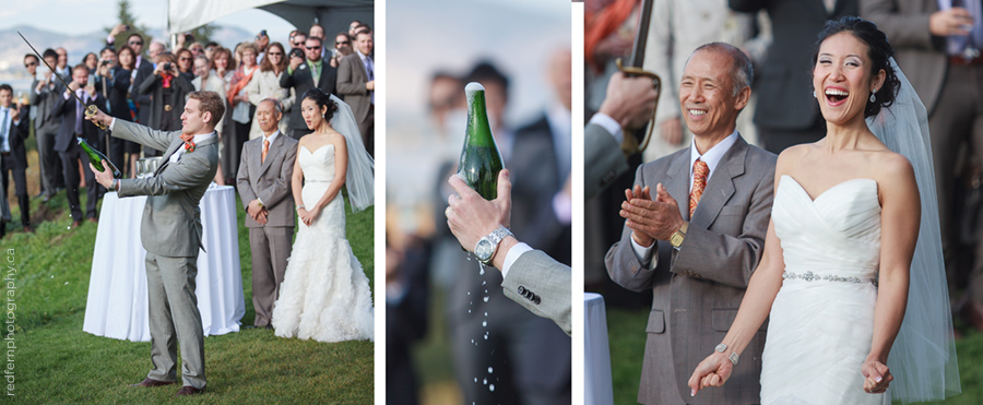 Kelowna summerhill winery wedding sabreing sabering ceremony champagne sword