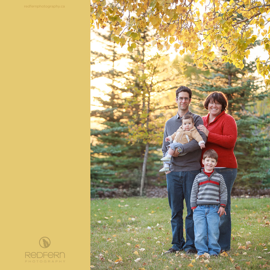 Family Photos in NW Calgary's Baker Park, at sunset in the fall with a red sweater