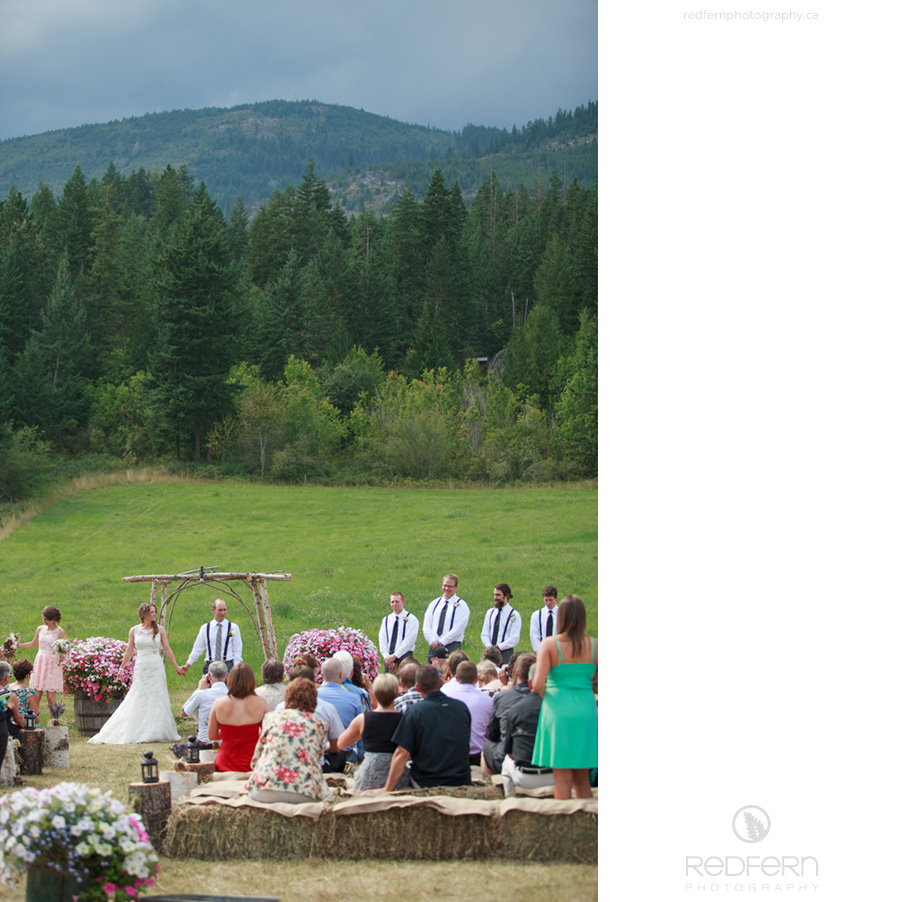 outdoor wedding bales of hay for seating