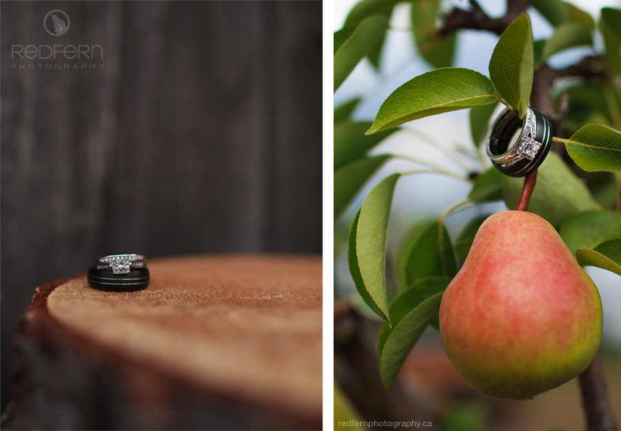 wedding rings on a pear on wood photo