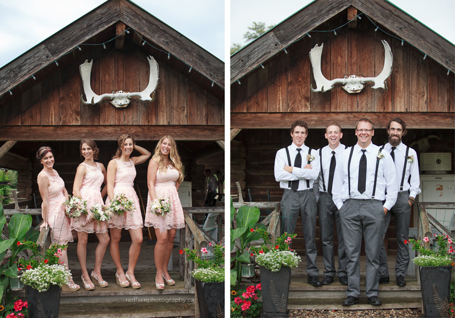 wedding party rustic cabin antlers