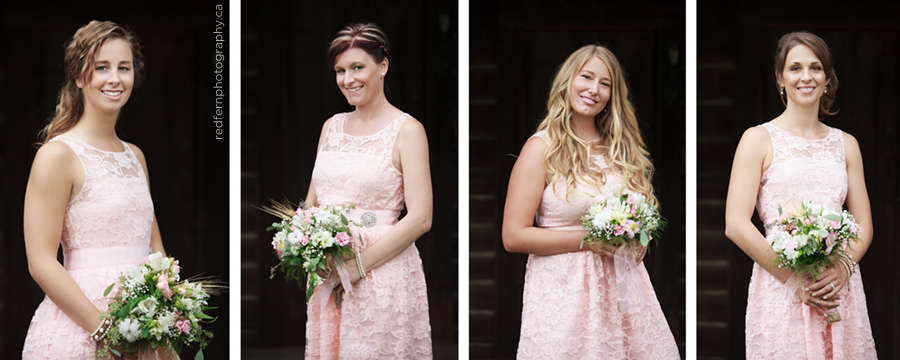 bridesmaids pink lace dresses summer wedding