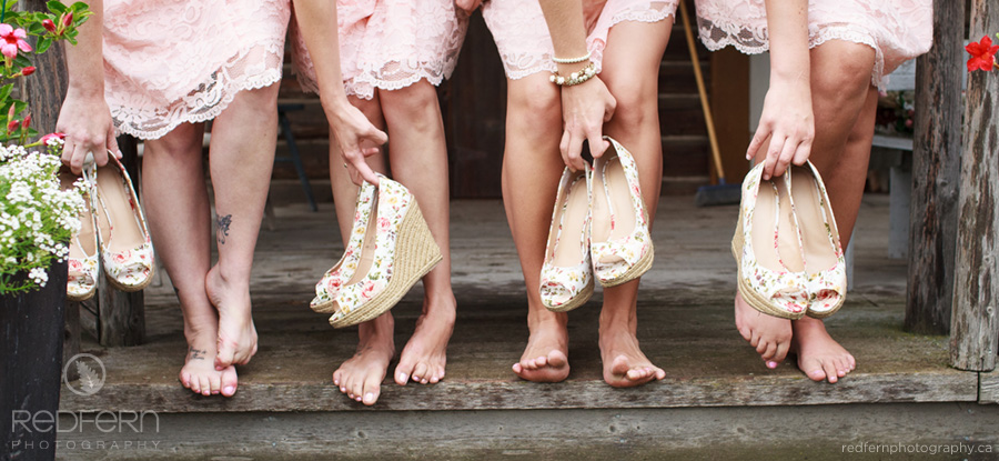 bridesmaids flowered wedge shoes