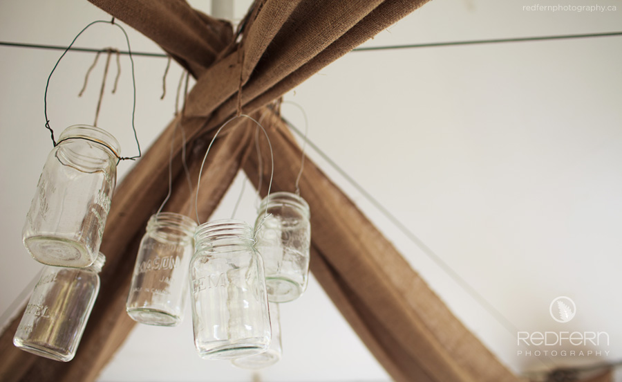 burlap mason jars chandelier wedding decor