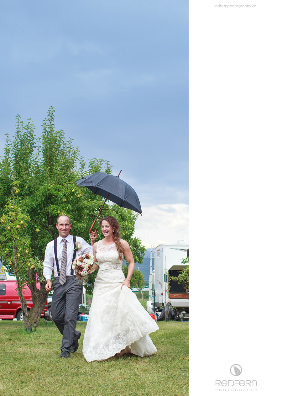rainy wedding fruit trees orchard salmon arm