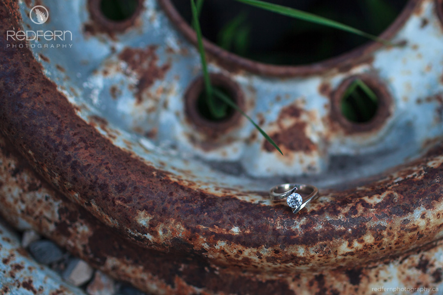enagement ring on rusty wheel