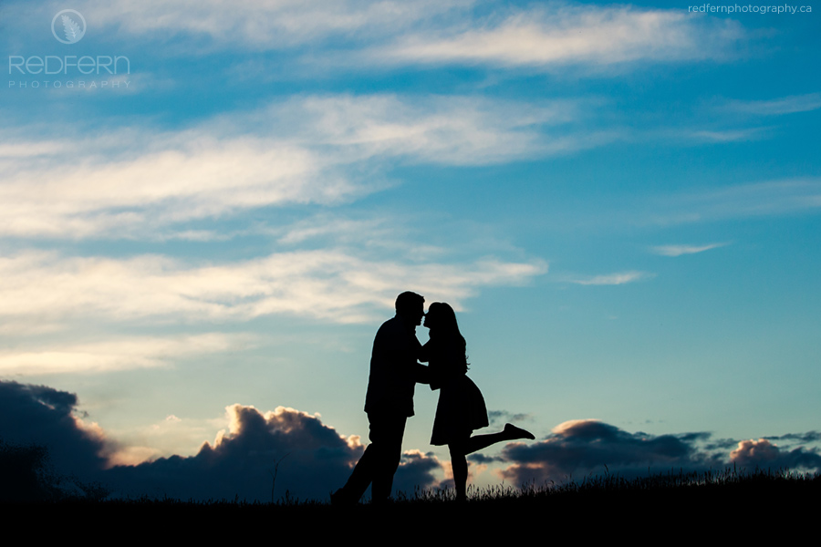 calgary sunset silhouette engagement photography