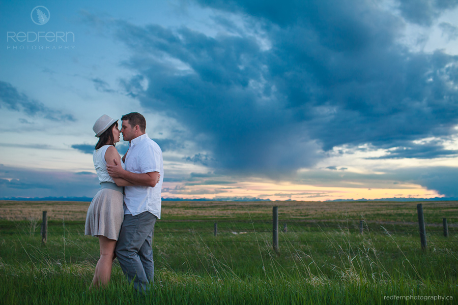calgary sunset prairie mountains engagement photo