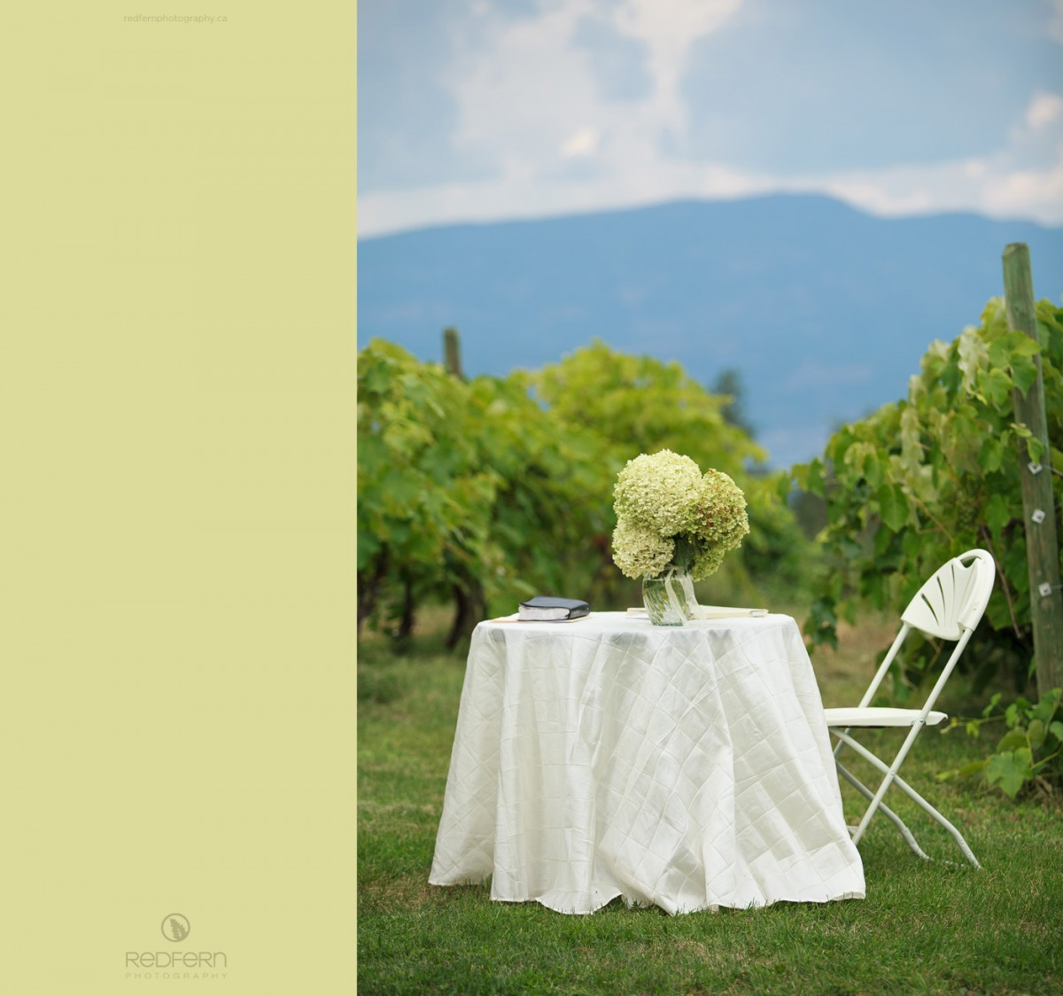 kelowna wedding ceremony vineyard signing table with hydrangea