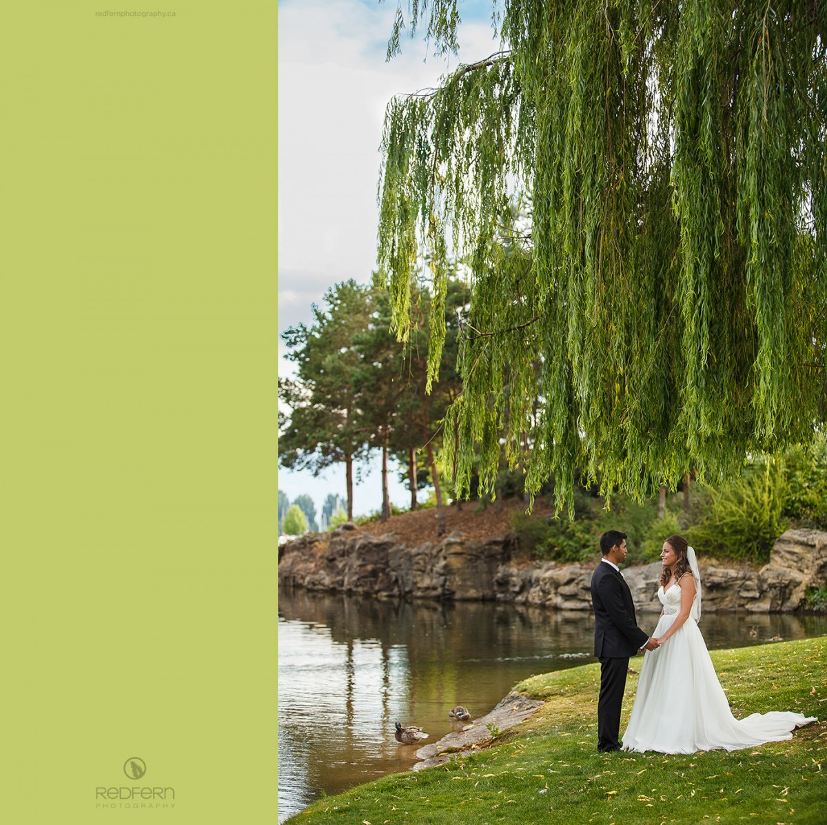 kelowna wedding pictures city park under willow tree